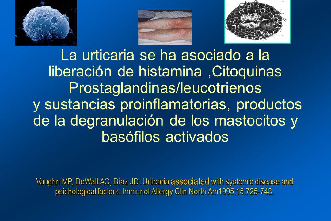 La urticaria se ha asociado a la liberación de histamina ,Citoquinas Prostaglandinas/leucotrienos y sustancias proinflamatorias, productos de la degranulación de los mastocitos y basófilos activados