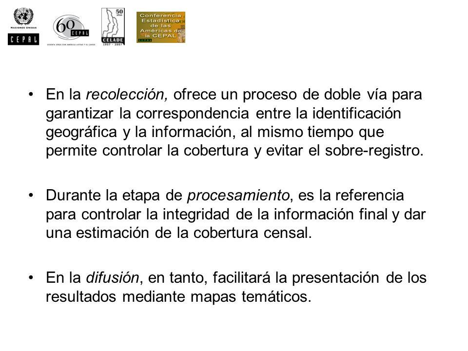 En la recolección, ofrece un proceso de doble vía para garantizar la correspondencia entre la identificación geográfica y la información, al mismo tiempo que permite controlar la cobertura y evitar el sobre-registro.