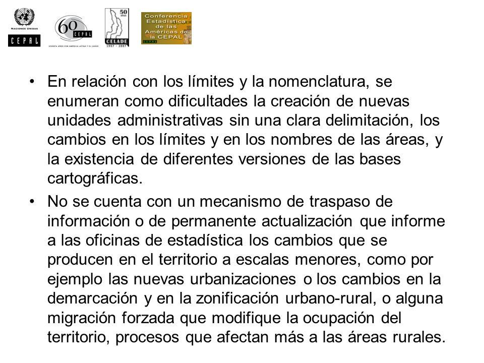 En relación con los límites y la nomenclatura, se enumeran como dificultades la creación de nuevas unidades administrativas sin una clara delimitación, los cambios en los límites y en los nombres de las áreas, y la existencia de diferentes versiones de las bases cartográficas.