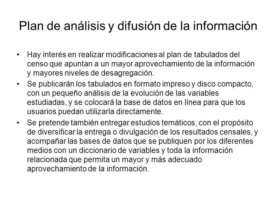 Plan de análisis y difusión de la información