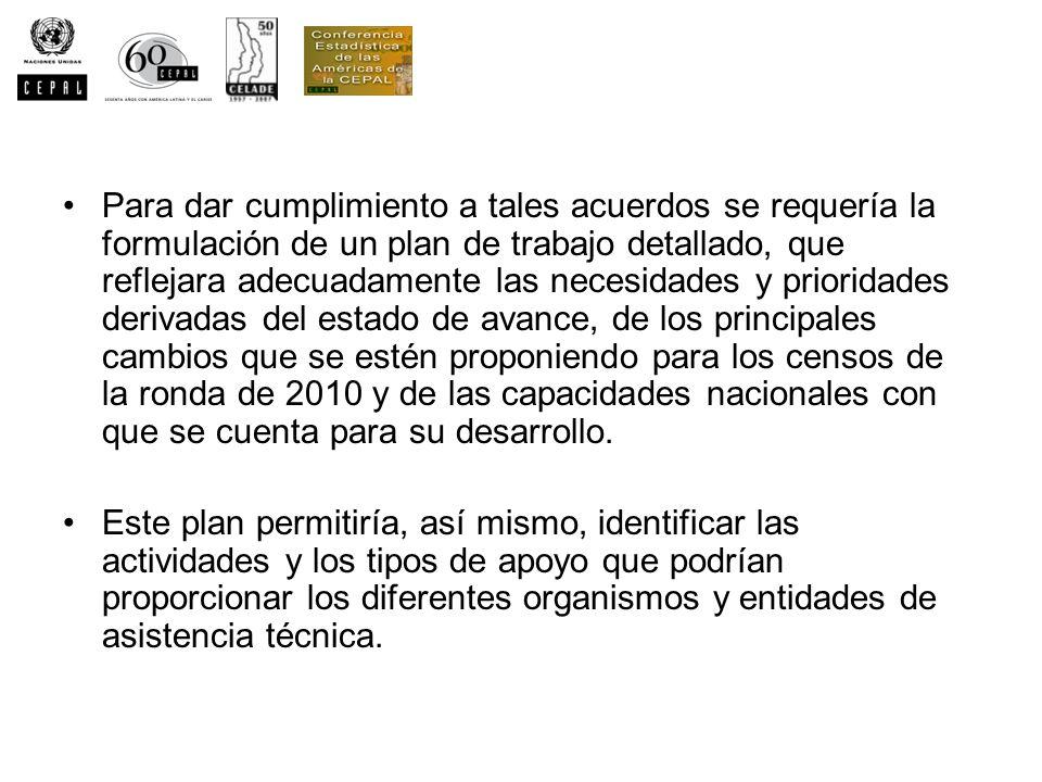 Para dar cumplimiento a tales acuerdos se requería la formulación de un plan de trabajo detallado, que reflejara adecuadamente las necesidades y prioridades derivadas del estado de avance, de los principales cambios que se estén proponiendo para los censos de la ronda de 2010 y de las capacidades nacionales con que se cuenta para su desarrollo.