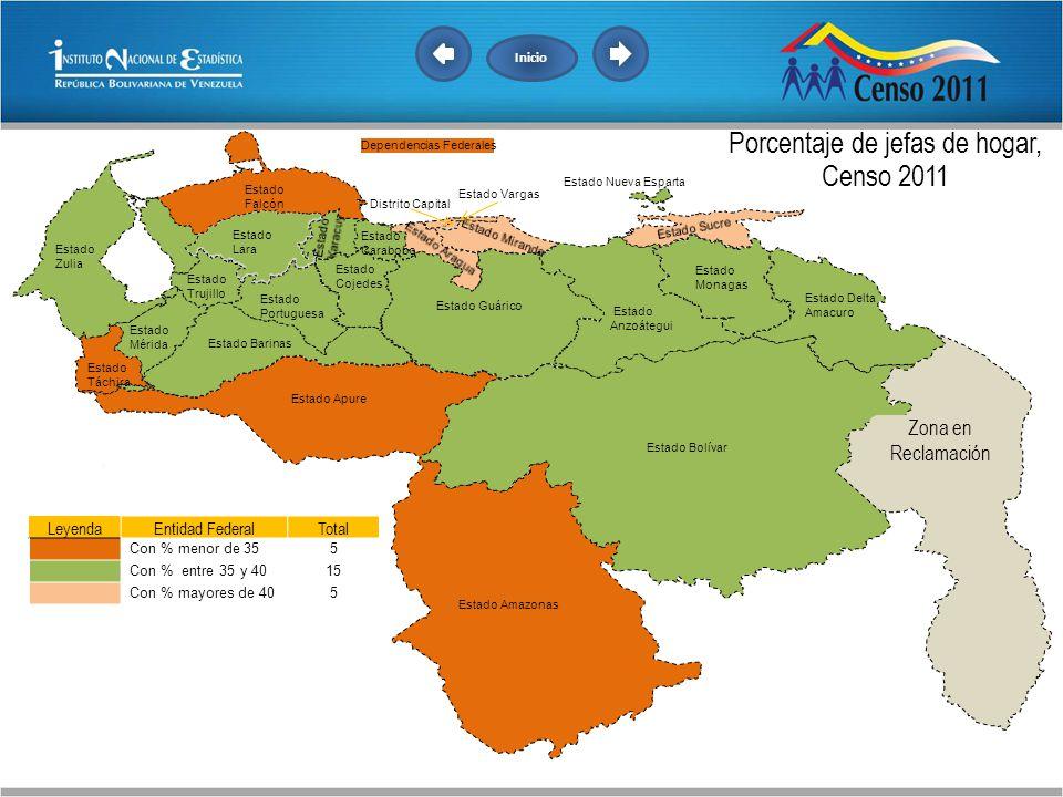 Porcentaje de jefas de hogar, Censo 2011