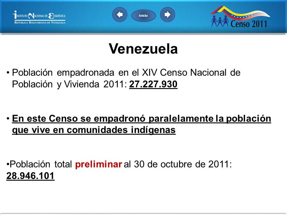 Inicio Venezuela. Población empadronada en el XIV Censo Nacional de Población y Vivienda 2011: 27.227.930.