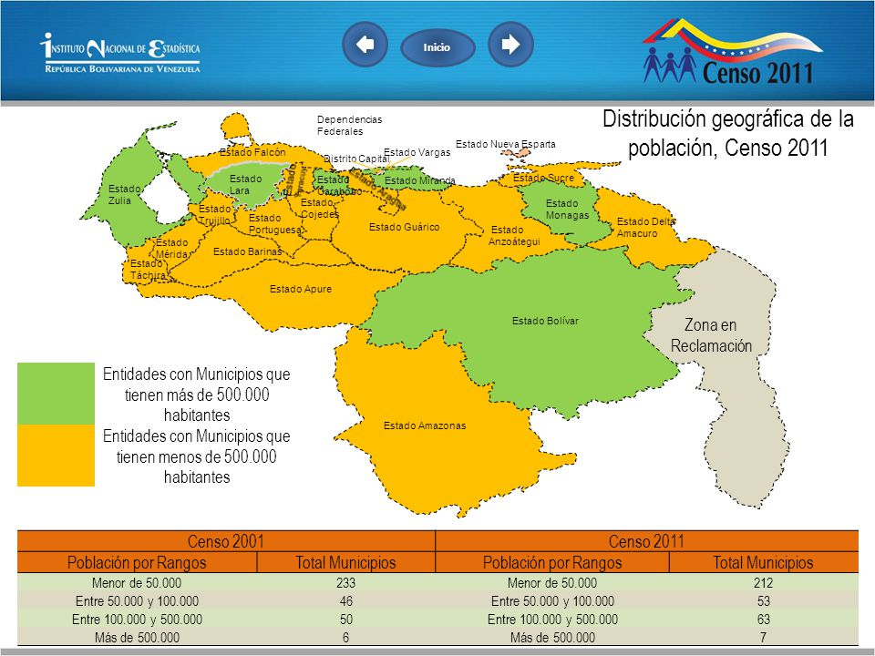 Distribución geográfica de la población, Censo 2011