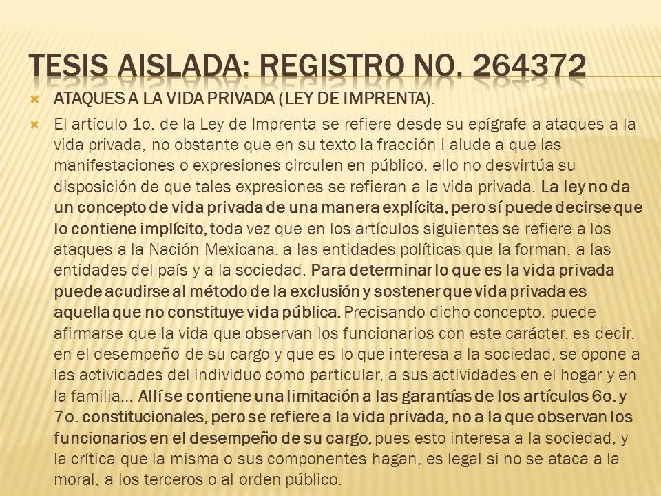 Tesis Aislada: Registro No. 264372
