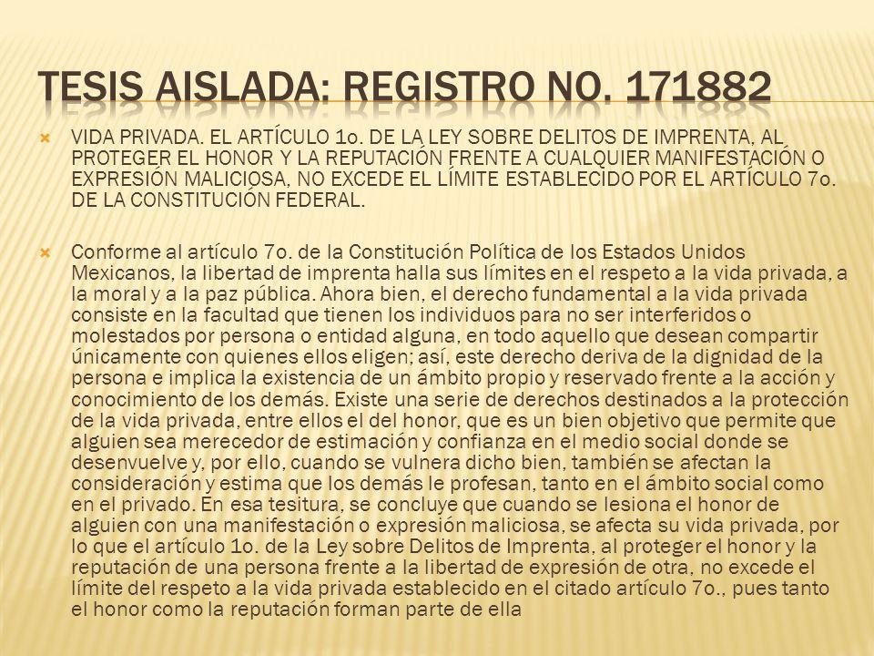Tesis aislada: Registro no. 171882
