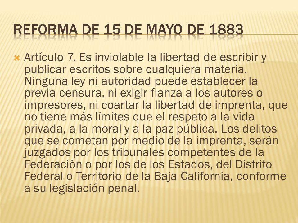 Reforma de 15 de mayo de 1883