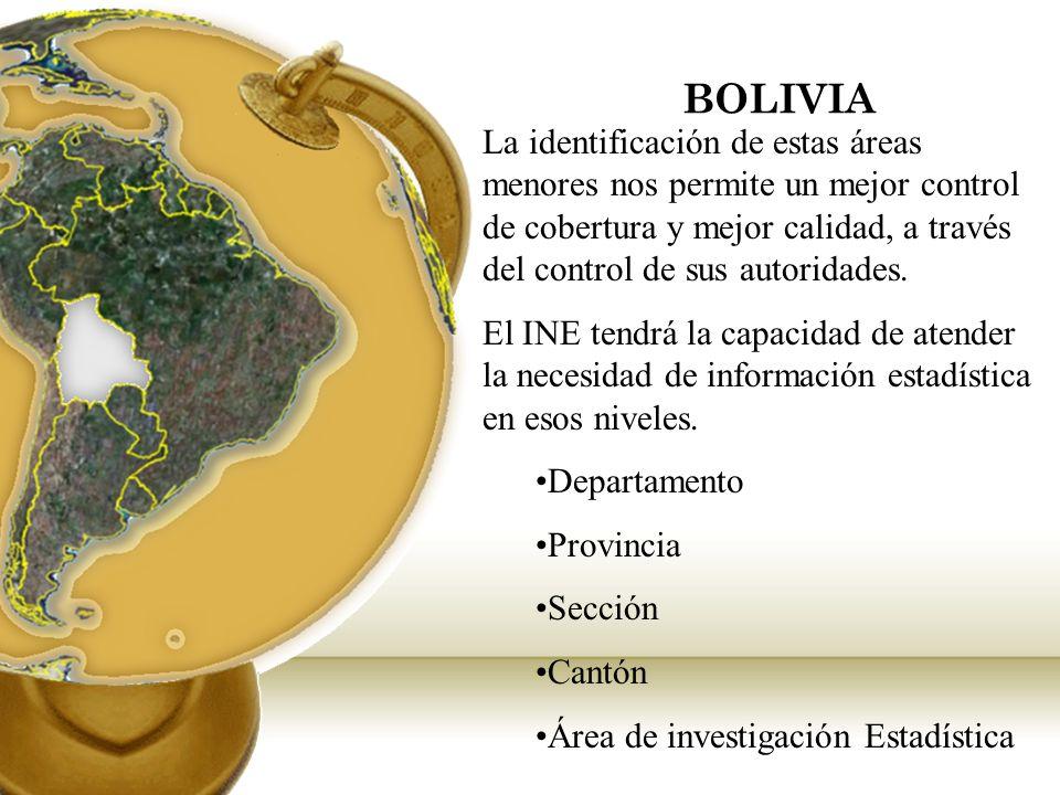 BOLIVIA La identificación de estas áreas menores nos permite un mejor control de cobertura y mejor calidad, a través del control de sus autoridades.
