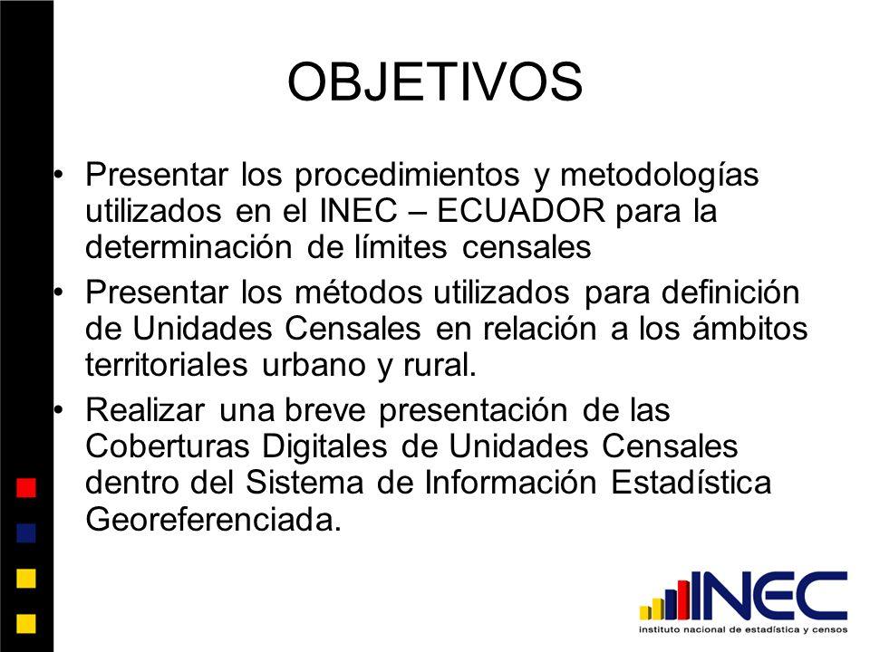 OBJETIVOS Presentar los procedimientos y metodologías utilizados en el INEC – ECUADOR para la determinación de límites censales.