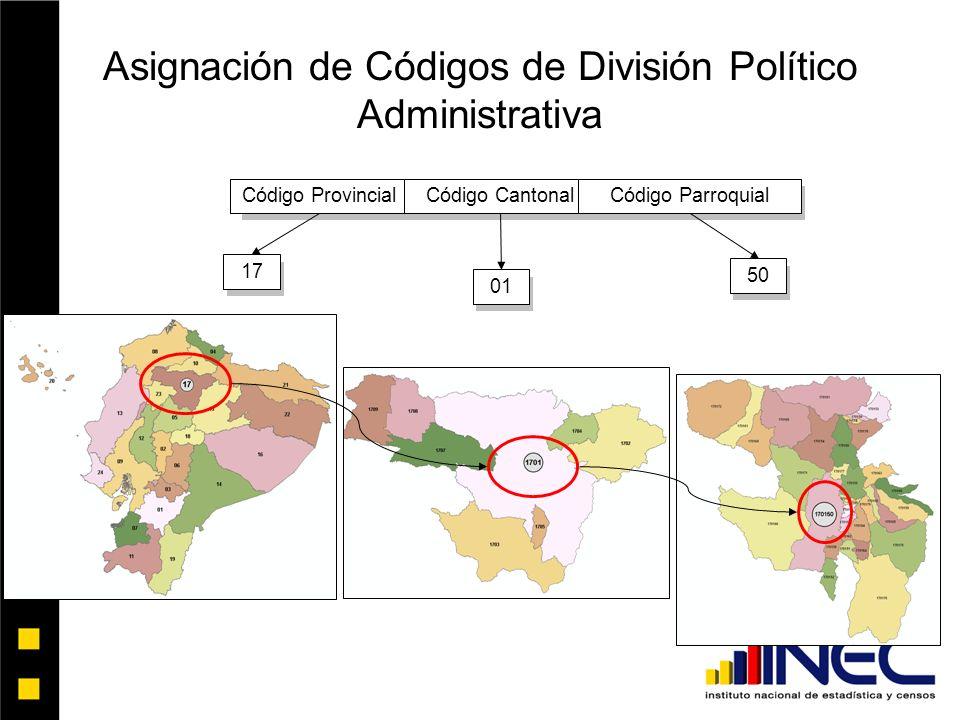 Asignación de Códigos de División Político Administrativa
