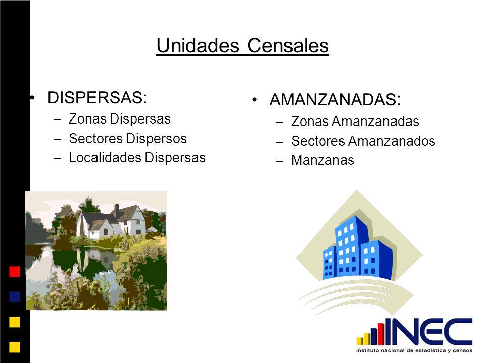Unidades Censales DISPERSAS: AMANZANADAS: Zonas Dispersas