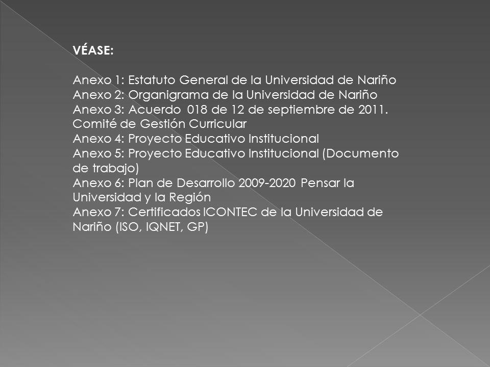 VÉASE: Anexo 1: Estatuto General de la Universidad de Nariño. Anexo 2: Organigrama de la Universidad de Nariño.