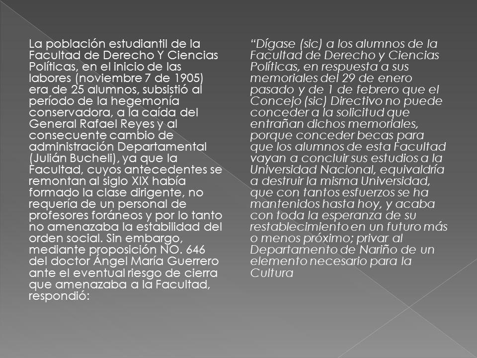 La población estudiantil de la Facultad de Derecho Y Ciencias Políticas, en el inicio de las labores (noviembre 7 de 1905) era de 25 alumnos, subsistió al período de la hegemonía conservadora, a la caída del General Rafael Reyes y al consecuente cambio de administración Departamental (Julián Bucheli), ya que la Facultad, cuyos antecedentes se remontan al siglo XIX había formado la clase dirigente, no requería de un personal de profesores foráneos y por lo tanto no amenazaba la estabilidad del orden social. Sin embargo, mediante proposición NO. 646 del doctor Ángel María Guerrero ante el eventual riesgo de cierra que amenazaba a la Facultad, respondió: