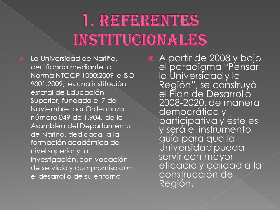 1. REFERENTES INSTITUCIONALES