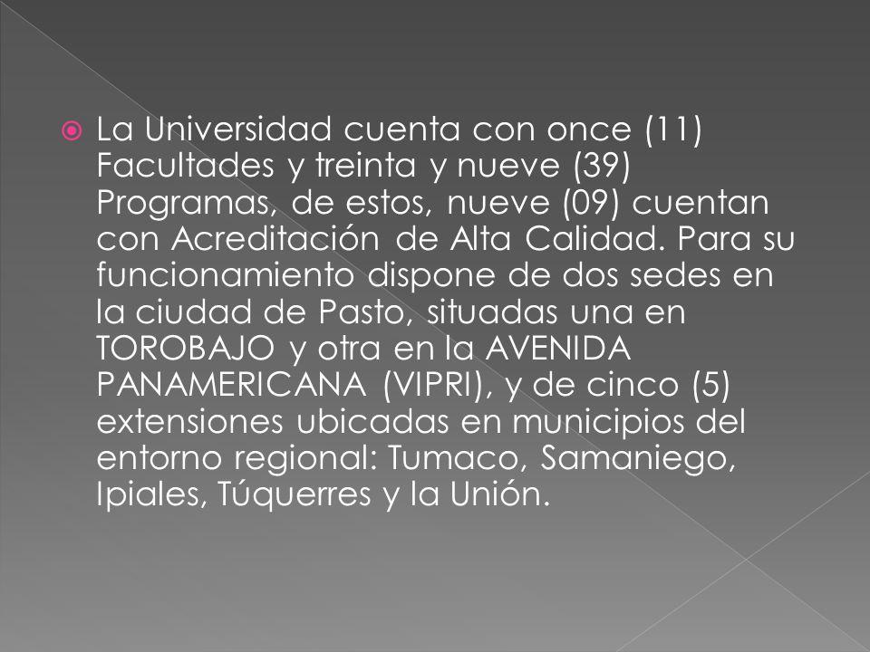 La Universidad cuenta con once (11) Facultades y treinta y nueve (39) Programas, de estos, nueve (09) cuentan con Acreditación de Alta Calidad.