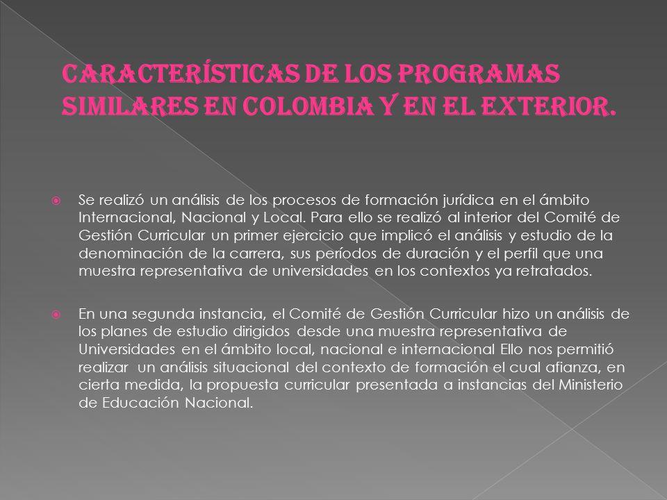 Características de los programas similares en Colombia y en el exterior.