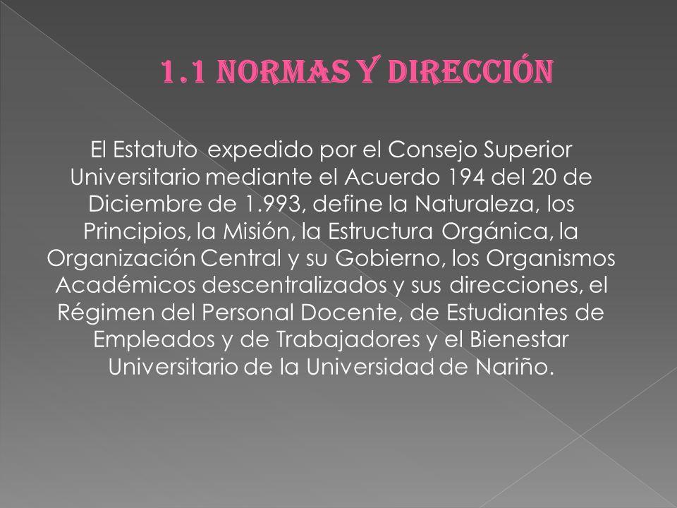 1.1 NORMAS Y DIRECCIÓN