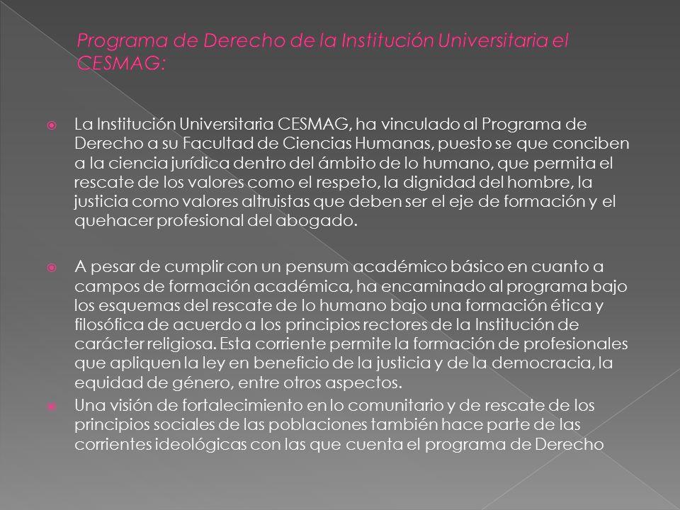 Programa de Derecho de la Institución Universitaria el CESMAG: