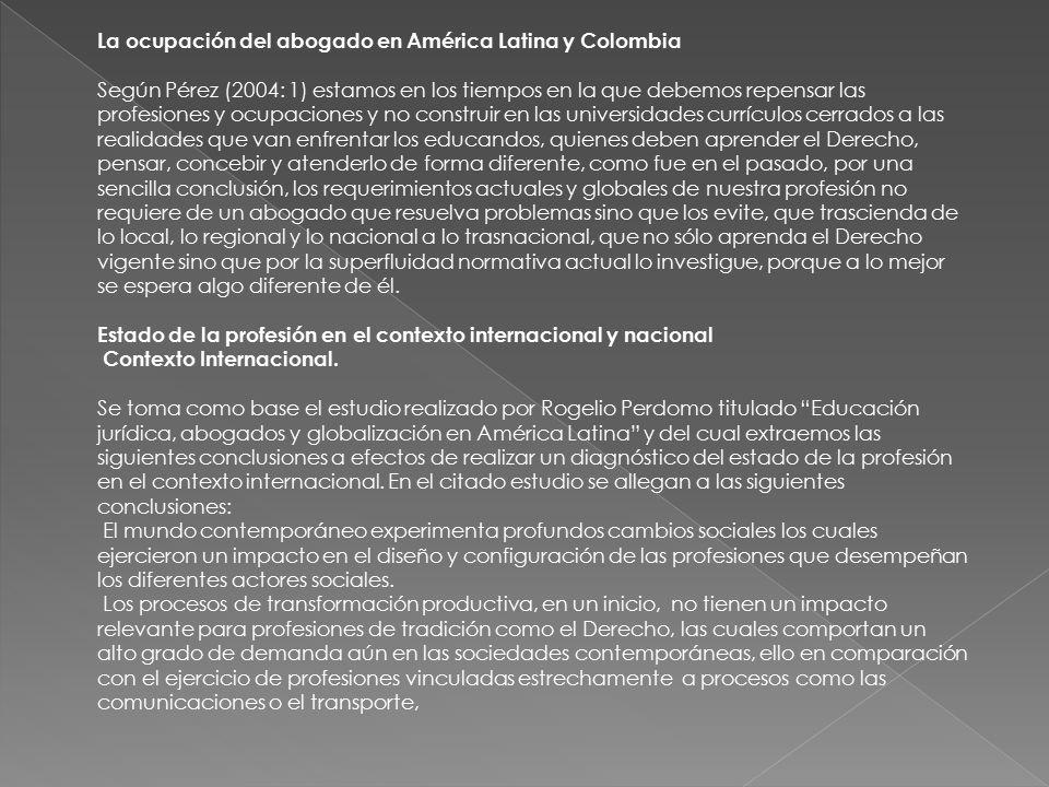 La ocupación del abogado en América Latina y Colombia