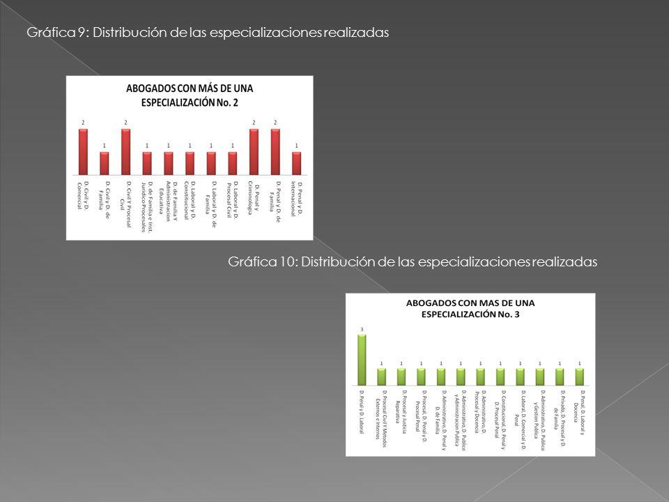 Gráfica 9: Distribución de las especializaciones realizadas
