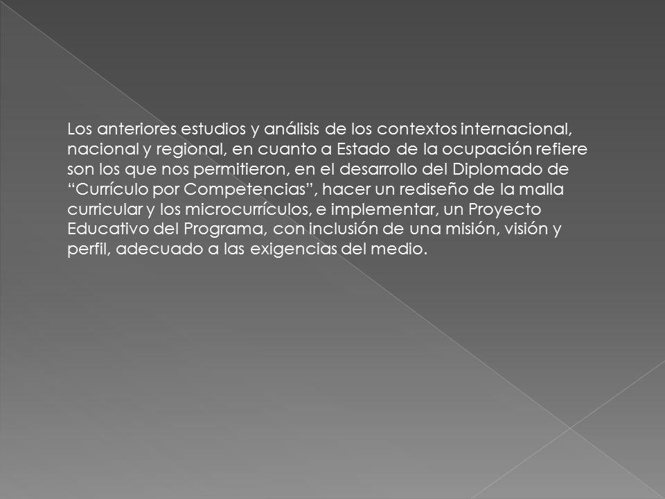 Los anteriores estudios y análisis de los contextos internacional, nacional y regional, en cuanto a Estado de la ocupación refiere son los que nos permitieron, en el desarrollo del Diplomado de Currículo por Competencias , hacer un rediseño de la malla curricular y los microcurrículos, e implementar, un Proyecto Educativo del Programa, con inclusión de una misión, visión y perfil, adecuado a las exigencias del medio.