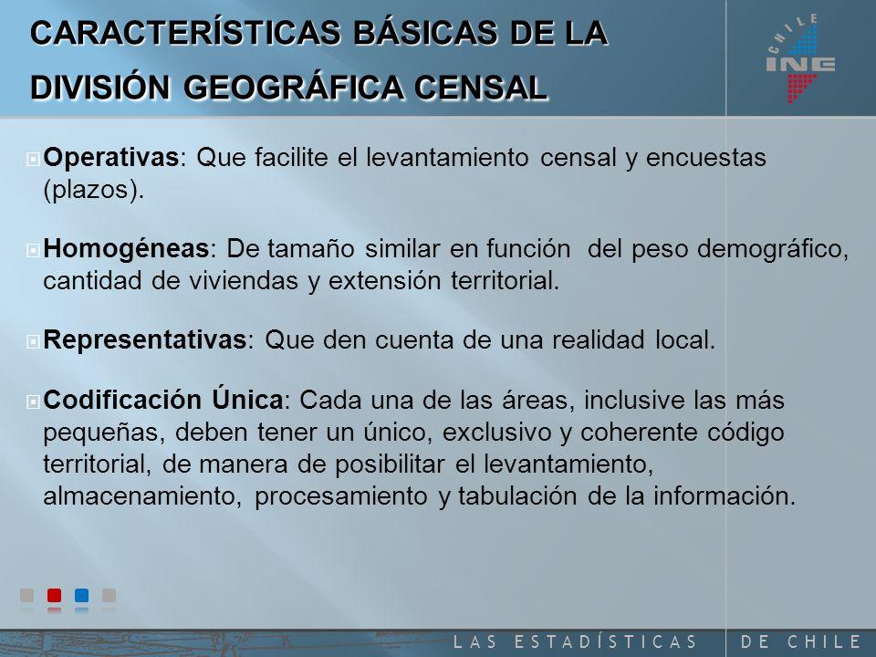 CARACTERÍSTICAS BÁSICAS DE LA DIVISIÓN GEOGRÁFICA CENSAL