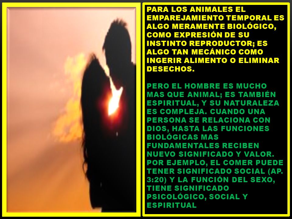 Para los animales el emparejamiento temporal es algo meramente biológico, como expresión de su instinto reproductor; es algo tan mecánico como ingerir alimento o eliminar desechos.