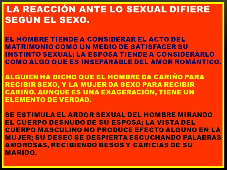 la reacción ante lo sexual difiere según el sexo