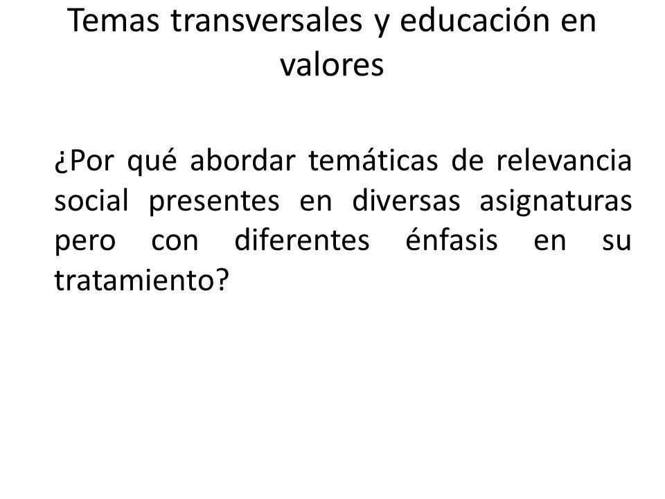 Temas transversales y educación en valores