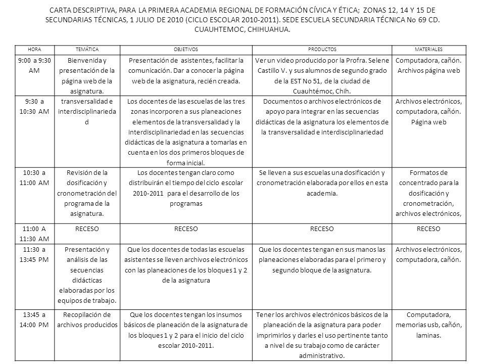 CARTA DESCRIPTIVA, PARA LA PRIMERA ACADEMIA REGIONAL DE FORMACIÓN CÍVICA Y ÉTICA; ZONAS 12, 14 Y 15 DE SECUNDARIAS TÉCNICAS, 1 JULIO DE 2010 (CICLO ESCOLAR 2010-2011). SEDE ESCUELA SECUNDARIA TÉCNICA No 69 CD. CUAUHTEMOC, CHIHUAHUA.