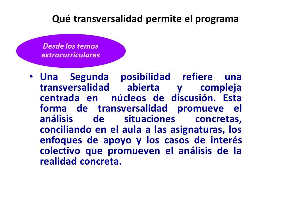 Qué transversalidad permite el programa
