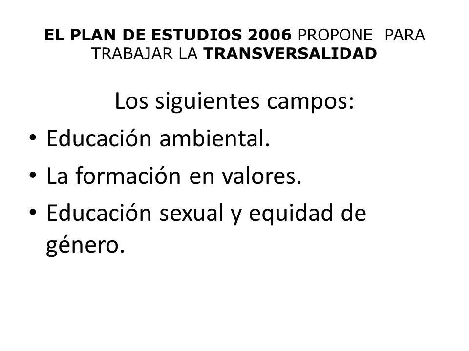 EL PLAN DE ESTUDIOS 2006 PROPONE PARA TRABAJAR LA TRANSVERSALIDAD