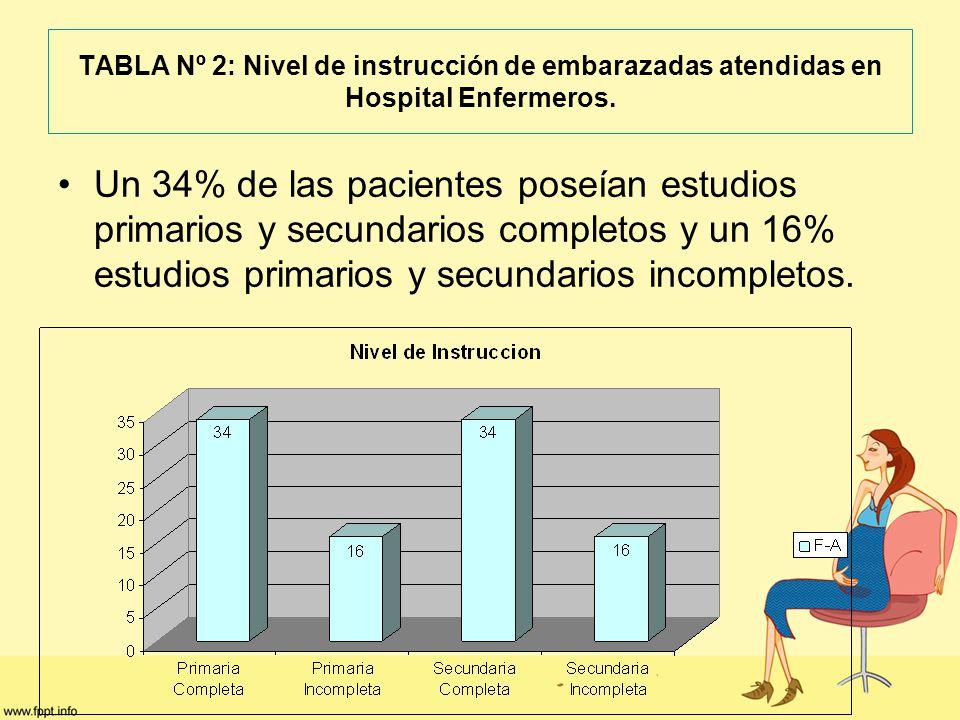 TABLA Nº 2: Nivel de instrucción de embarazadas atendidas en Hospital Enfermeros.