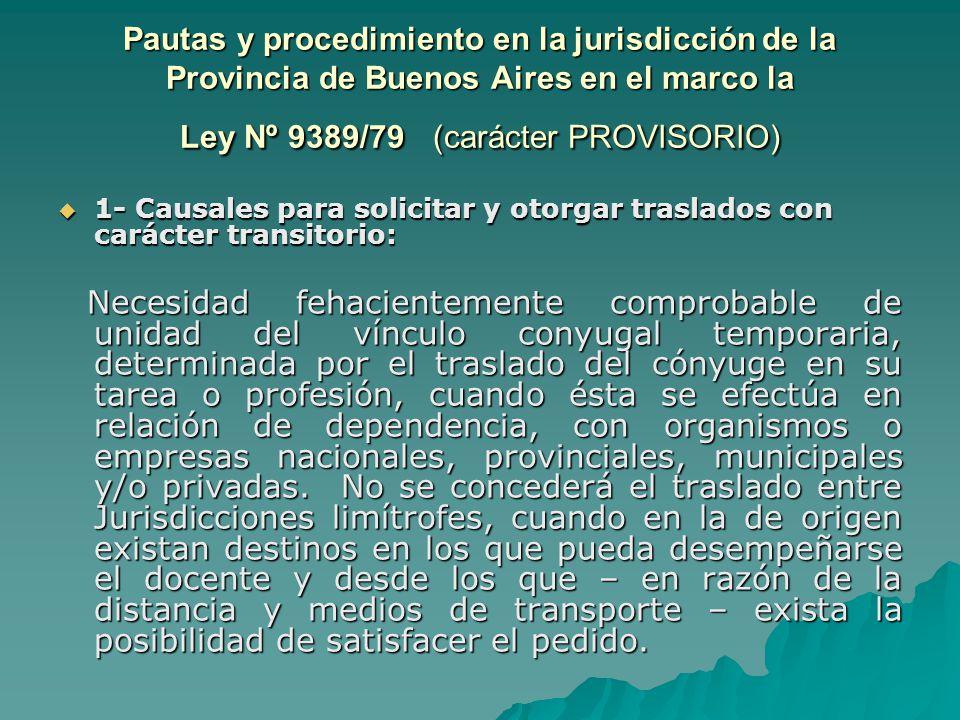 Pautas y procedimiento en la jurisdicción de la Provincia de Buenos Aires en el marco la Ley Nº 9389/79 (carácter PROVISORIO)