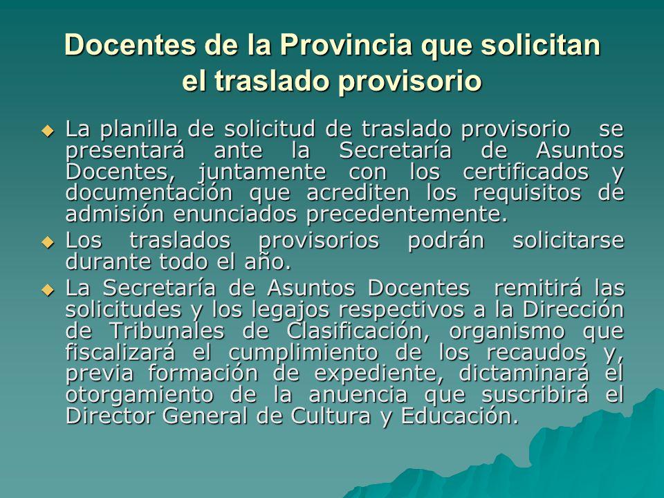 Docentes de la Provincia que solicitan el traslado provisorio