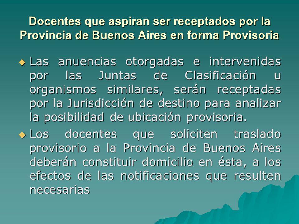 Docentes que aspiran ser receptados por la Provincia de Buenos Aires en forma Provisoria