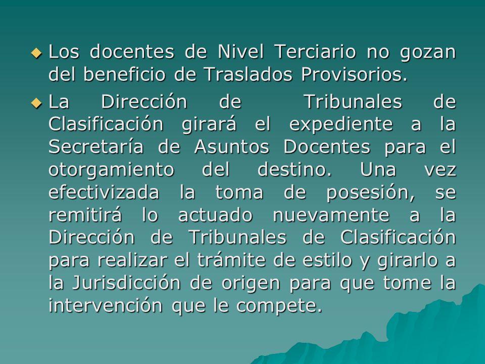 Los docentes de Nivel Terciario no gozan del beneficio de Traslados Provisorios.