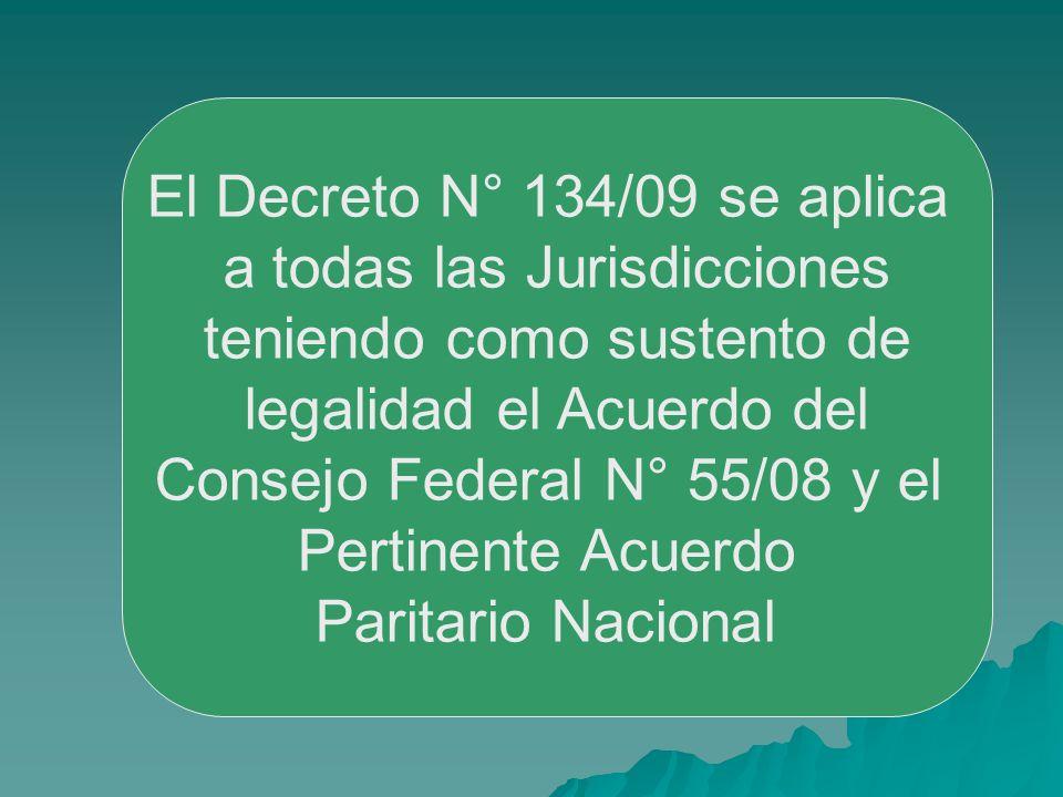 El Decreto N° 134/09 se aplica a todas las Jurisdicciones