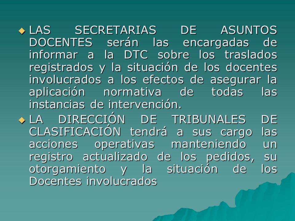 LAS SECRETARIAS DE ASUNTOS DOCENTES serán las encargadas de informar a la DTC sobre los traslados registrados y la situación de los docentes involucrados a los efectos de asegurar la aplicación normativa de todas las instancias de intervención.
