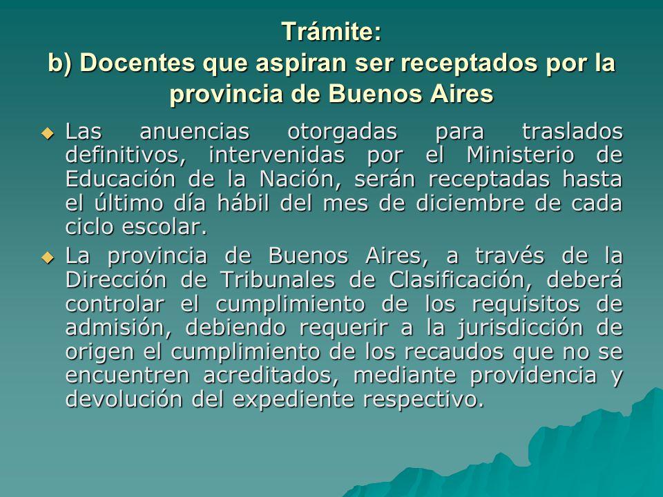 Trámite: b) Docentes que aspiran ser receptados por la provincia de Buenos Aires
