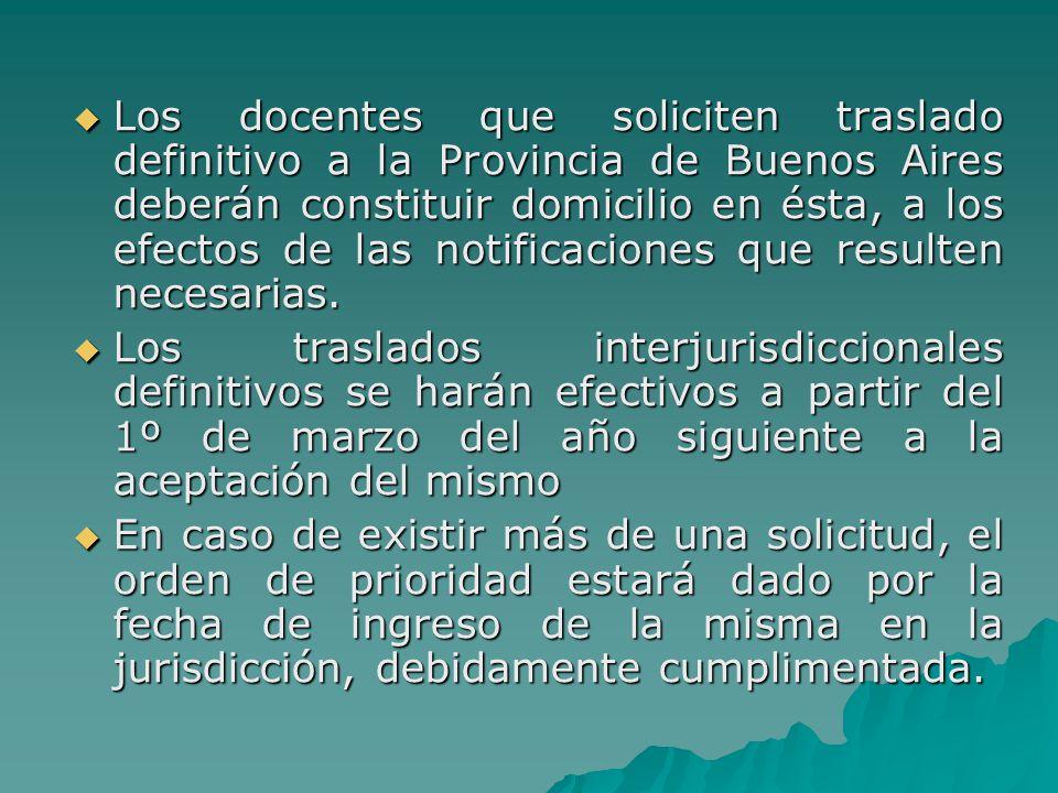 Los docentes que soliciten traslado definitivo a la Provincia de Buenos Aires deberán constituir domicilio en ésta, a los efectos de las notificaciones que resulten necesarias.