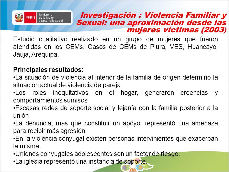 Investigación : Violencia Familiar y Sexual: una aproximación desde las mujeres víctimas (2003)