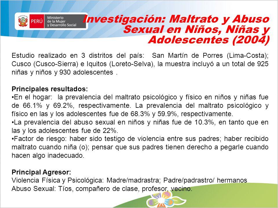 Investigación: Maltrato y Abuso Sexual en Niños, Niñas y Adolescentes (2004)