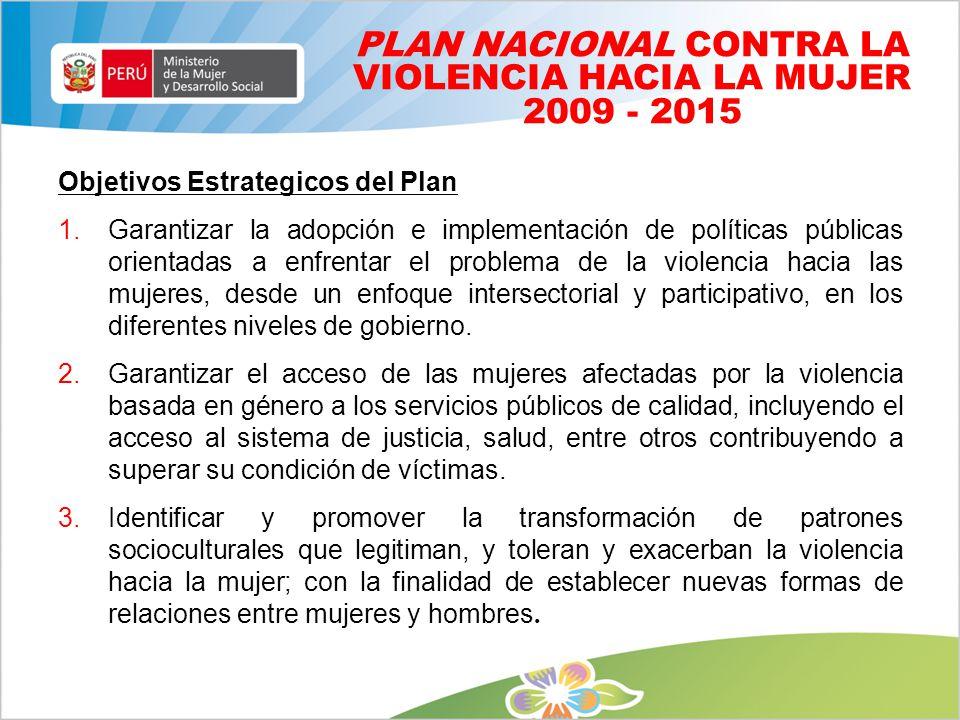 PLAN NACIONAL CONTRA LA VIOLENCIA HACIA LA MUJER 2009 - 2015