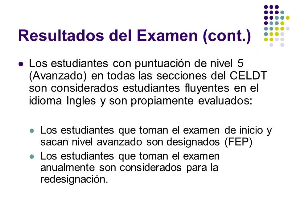 Resultados del Examen (cont.)