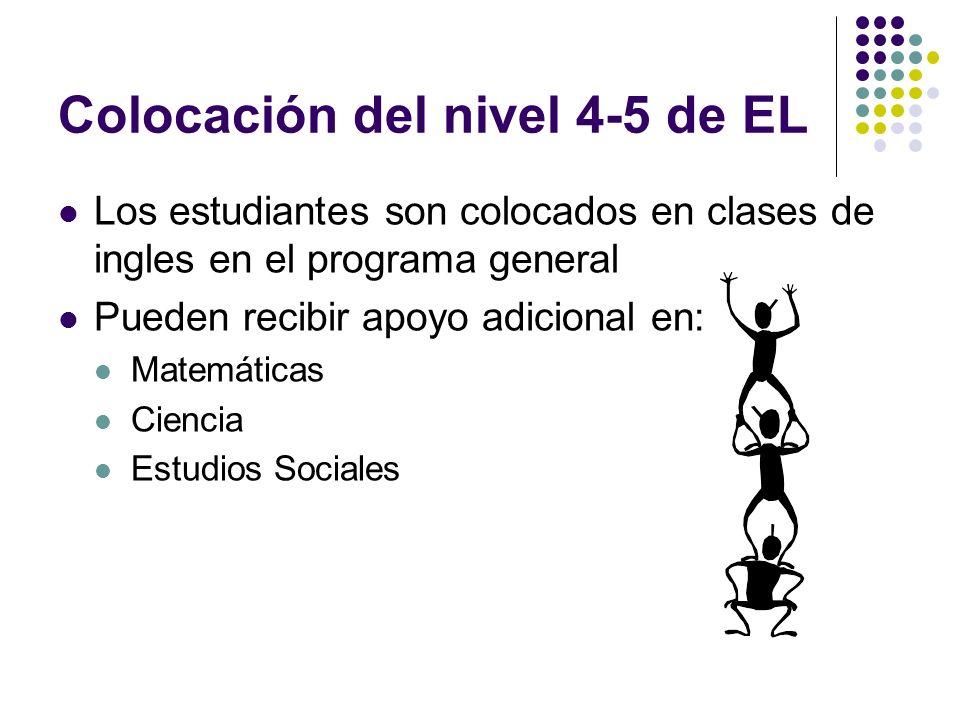 Colocación del nivel 4-5 de EL