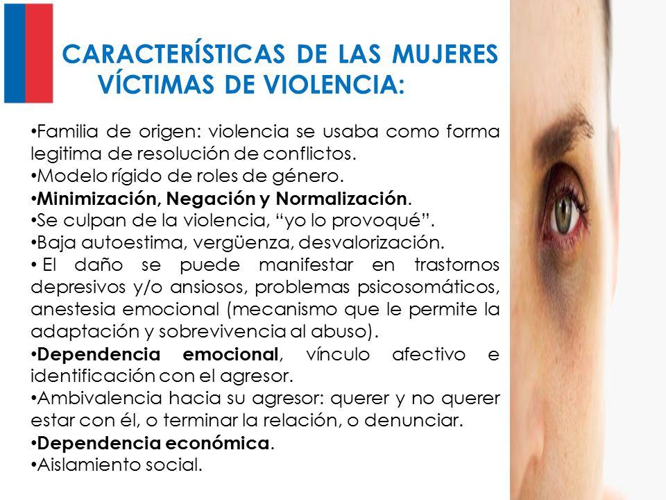 CARACTERÍSTICAS DE LAS MUJERES VÍCTIMAS DE VIOLENCIA: