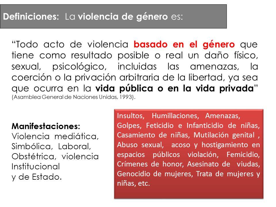 Definiciones: La violencia de género es: