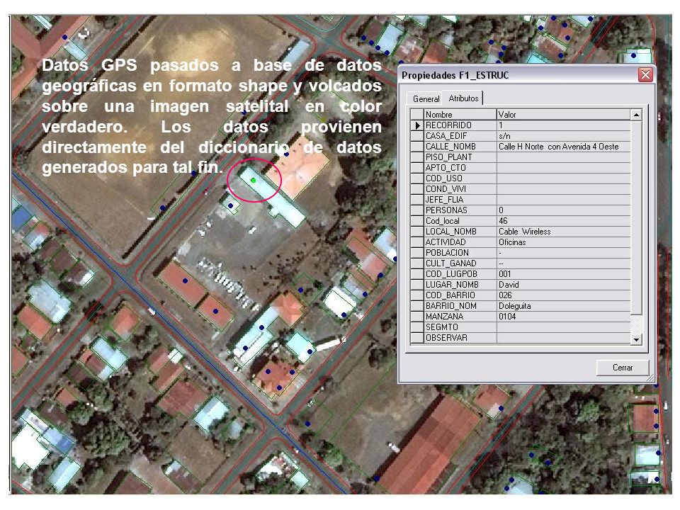 Datos GPS pasados a base de datos geográficas en formato shape y volcados sobre una imagen satelital en color verdadero.