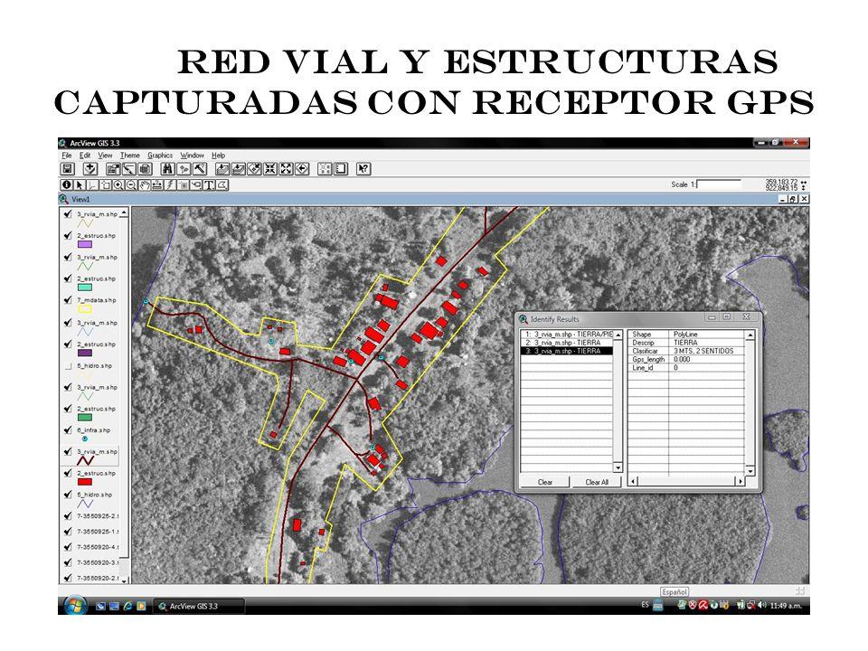 RED VIAL Y ESTRUCTURAS CAPTURADAS CON RECEPTOR GPS